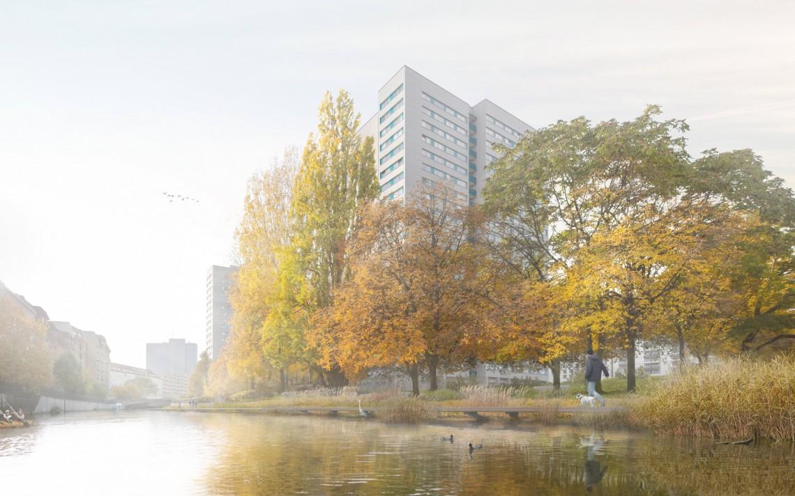 Fischerinsel im Projekt FLUSSBAD Berlin, renaturierter Bereich auf Inselseite